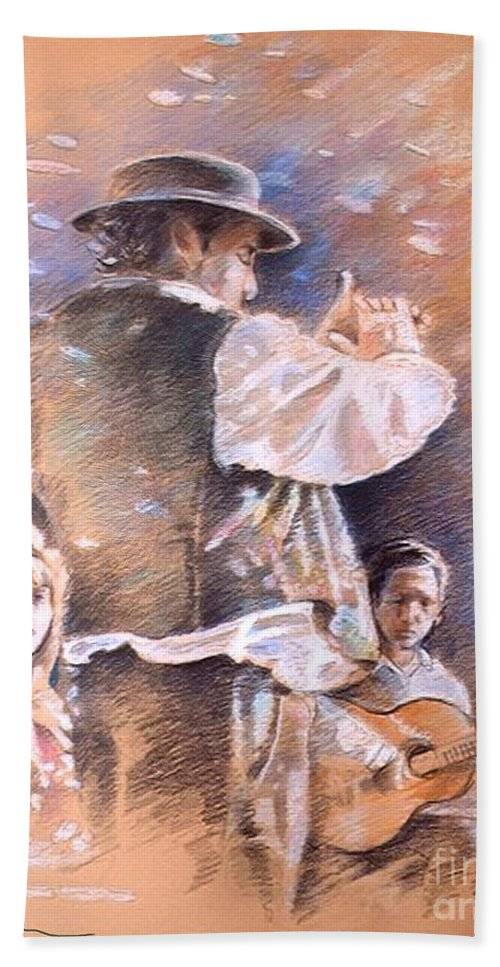 Spain Folklore Hand Towel featuring the painting Flamenco Group by Miki De Goodaboom