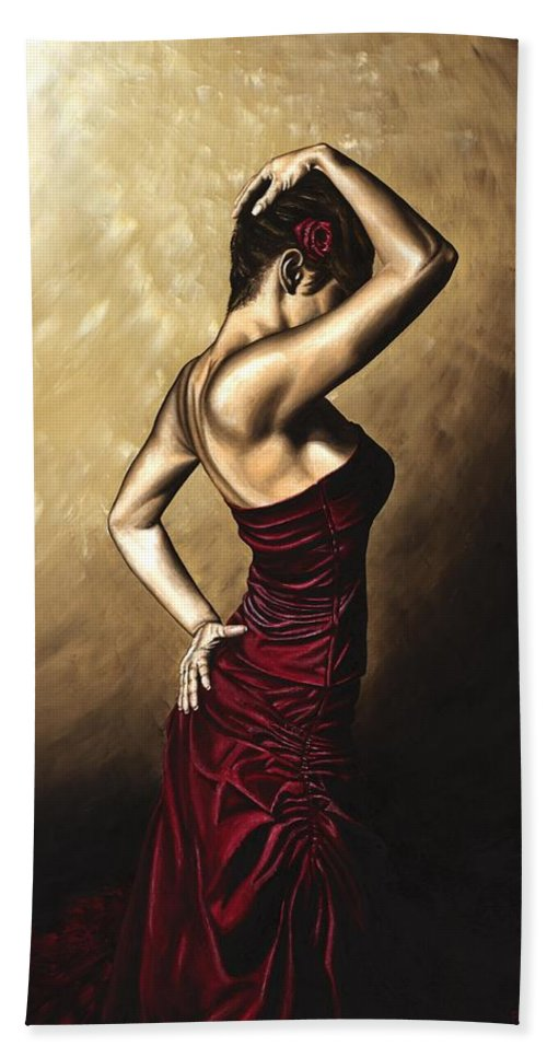 Flamenco Bath Towel featuring the painting Flamenco Woman by Richard Young