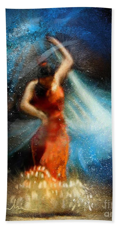Flamenco Hand Towel featuring the painting Flamencoscape 05 by Miki De Goodaboom