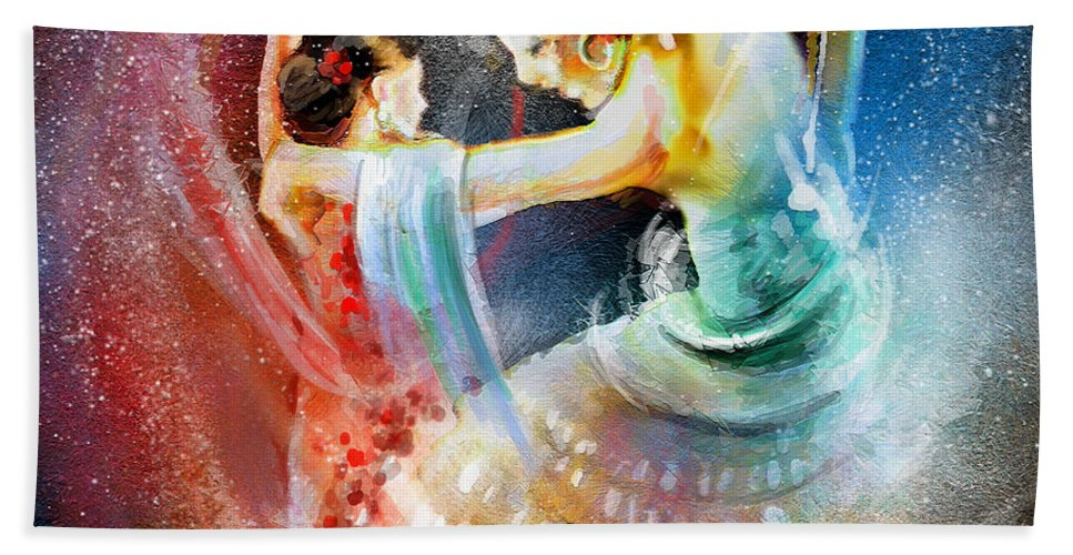 Flamenco Bath Sheet featuring the painting Flamencoscape 06 by Miki De Goodaboom