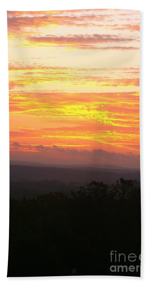 Sunrise Hand Towel featuring the photograph Flaming Autumn Sunrise by Nadine Rippelmeyer