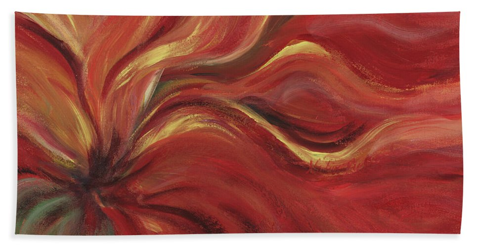 Red Bath Towel featuring the painting Flaming Flower by Nadine Rippelmeyer