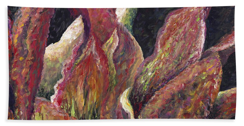 Leaves Bath Towel featuring the painting Flaming Leaves by Nadine Rippelmeyer