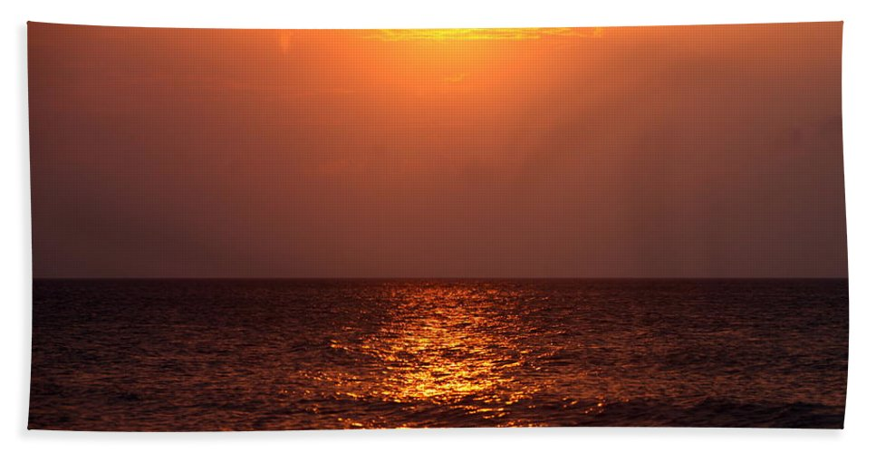 Sunrise Hand Towel featuring the photograph Flaming Sunrise by Nadine Rippelmeyer