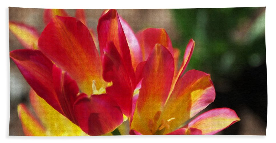 Tulips Bath Sheet featuring the painting Flaming Tulips by Jeffrey Kolker