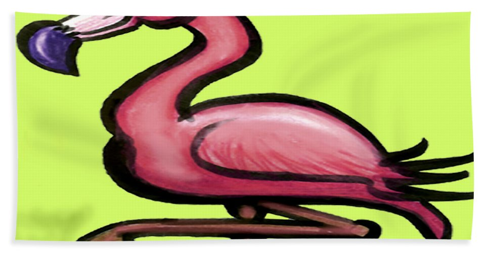 Flamingo Bath Sheet featuring the painting Flamingo by Kevin Middleton