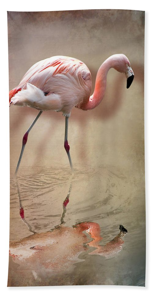 3d Bath Sheet featuring the photograph Flamingo by Svetlana Sewell