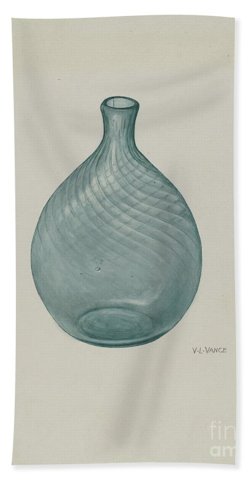 Hand Towel featuring the drawing Flask by V.l. Vance