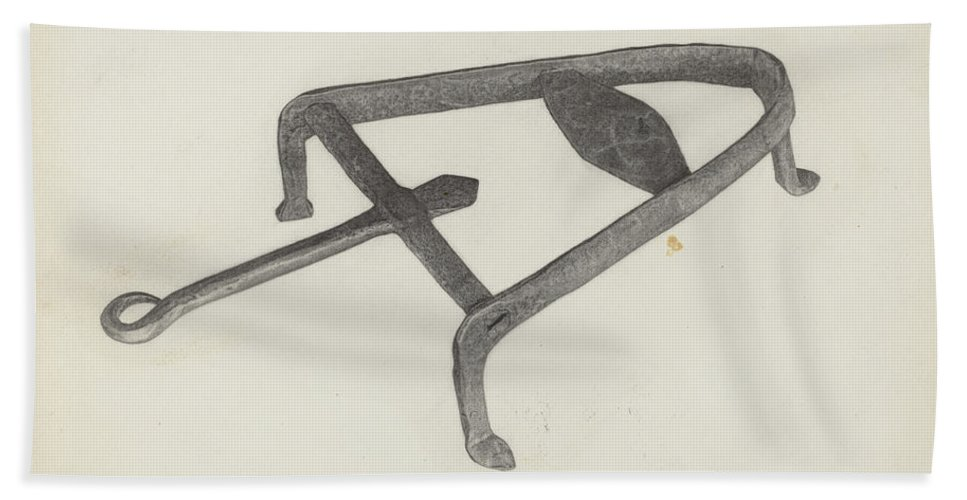 Hand Towel featuring the drawing Flat Iron Holder by Albert Taxson