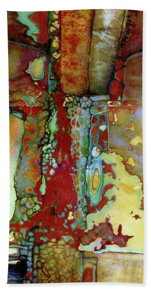 Abstract Bath Sheet featuring the digital art Flatbush Subway Q Train#2 by Roxanne Bohana