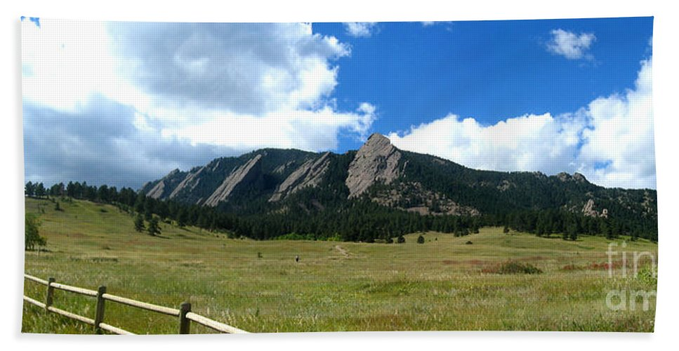 Flatiron Hand Towel featuring the photograph Flatirons Panorama by Thomas Marchessault
