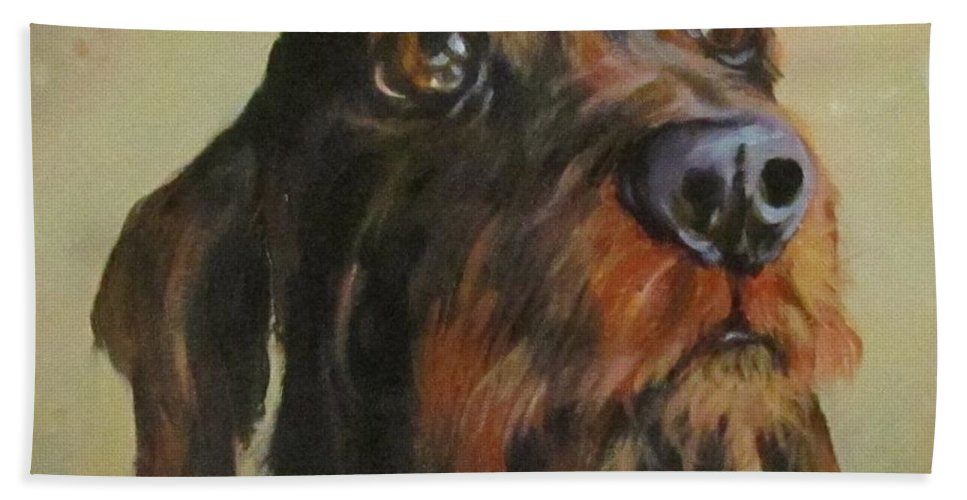 Dog Hand Towel featuring the painting Flavi by Barbara O'Toole