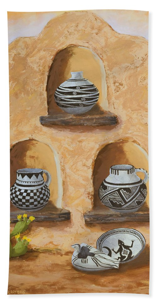 Pottery Hand Towel featuring the painting Flavor Of The Soutwest Part 3 by Jerry McElroy