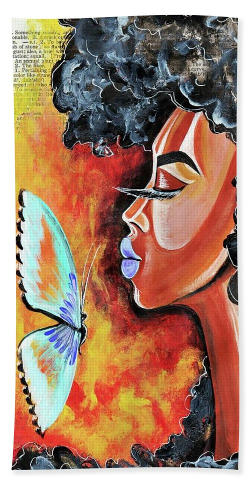 Butterfly Bath Towel featuring the painting Flawed by Artist RiA