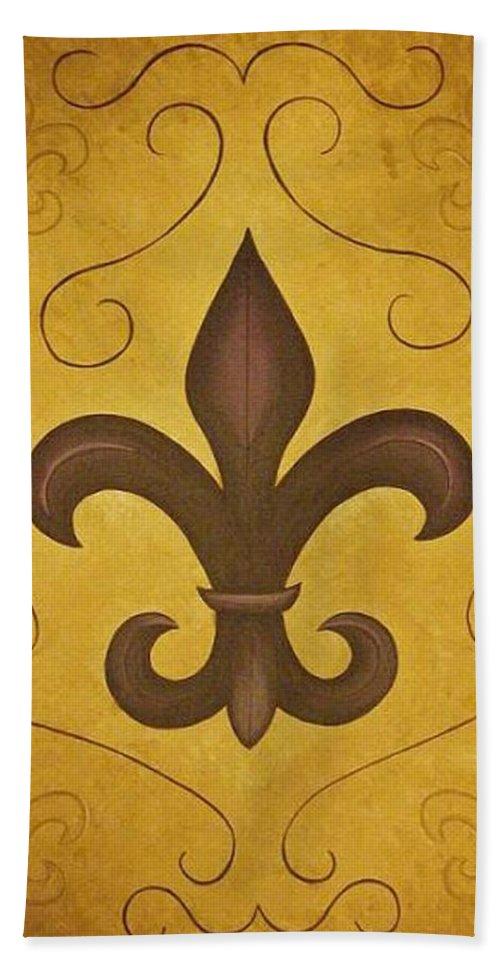 Fleur De Lis Bath Sheet featuring the painting Fleur De Lis II by Valerie Carpenter