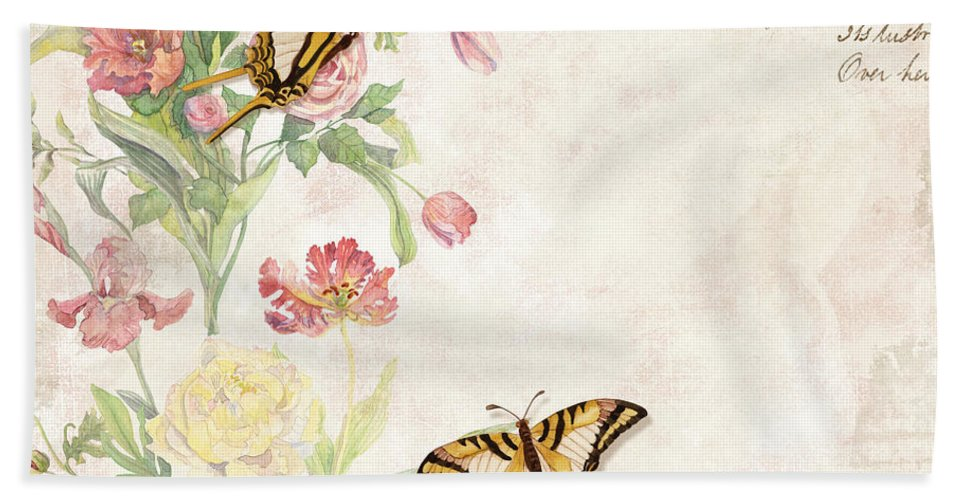 Butterfly Hand Towel featuring the painting Fleurs De Pivoine - Watercolor W Butterflies In A French Vintage Wallpaper Style by Audrey Jeanne Roberts
