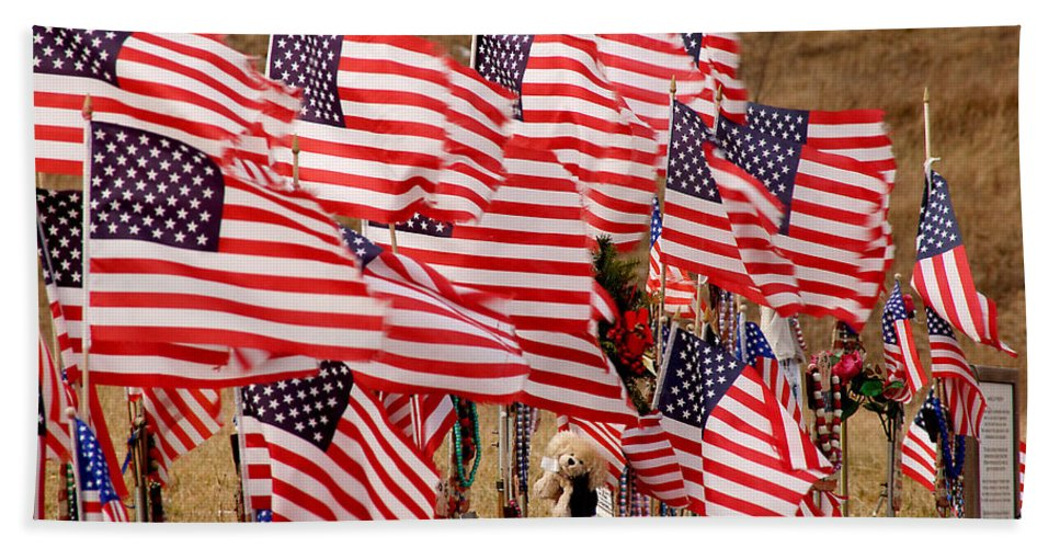 Flags Bath Sheet featuring the photograph Flight 93 Flags by Jean Macaluso