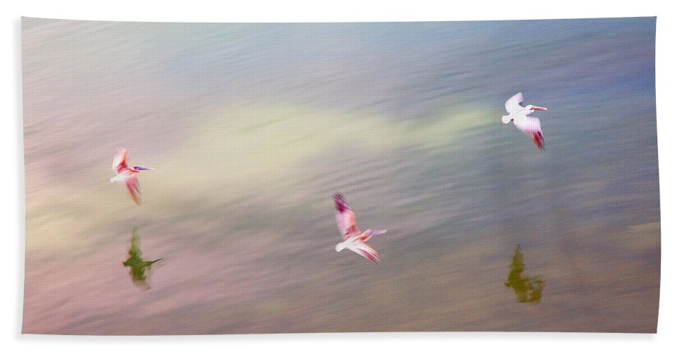 Pelicans Hand Towel featuring the photograph Flight Impressions by Mal Bray