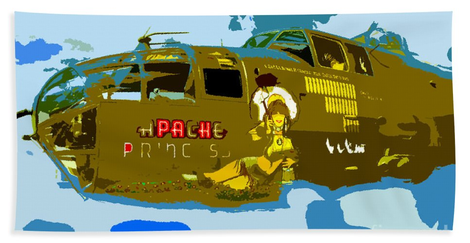 Bomber Hand Towel featuring the painting Flight Of The Apache Princess by David Lee Thompson
