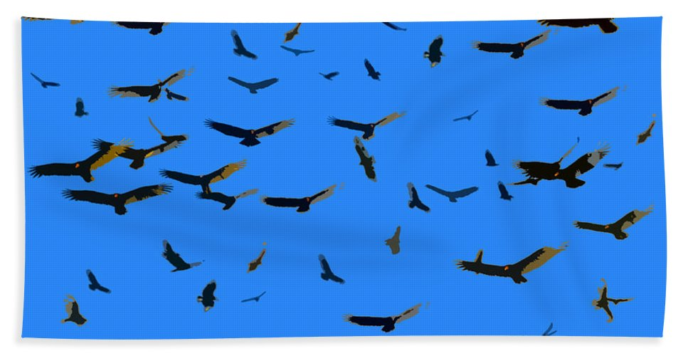 Vultures Bath Sheet featuring the painting Flight Of The Vultures by David Lee Thompson