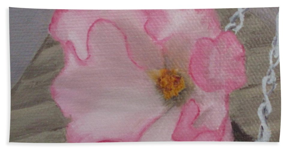 Flower Bath Sheet featuring the painting Flirty Begonia by Lea Novak