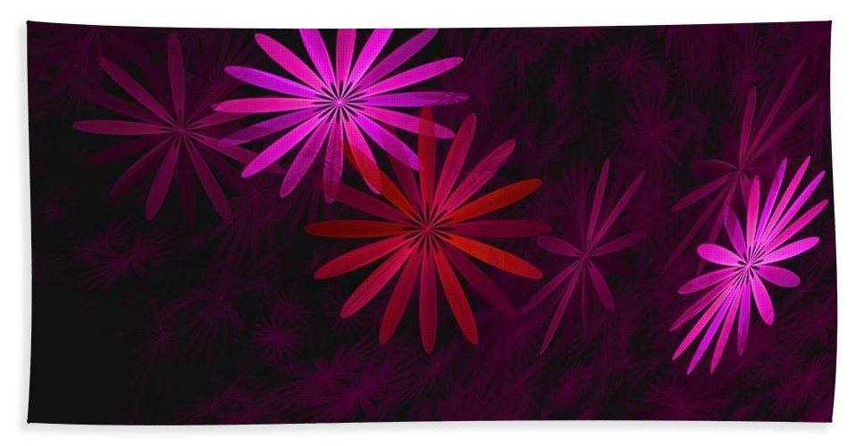 Fantasy Hand Towel featuring the digital art Floating Floral - 006 by David Lane