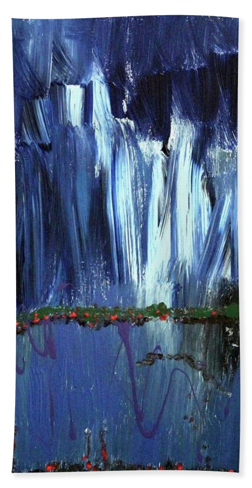 Blue Bath Towel featuring the painting Floating Gardens by Pam Roth O'Mara