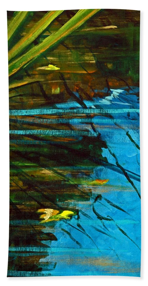Acrylic Bath Sheet featuring the painting Floating Gold On Reflected Blue by Suzanne McKee