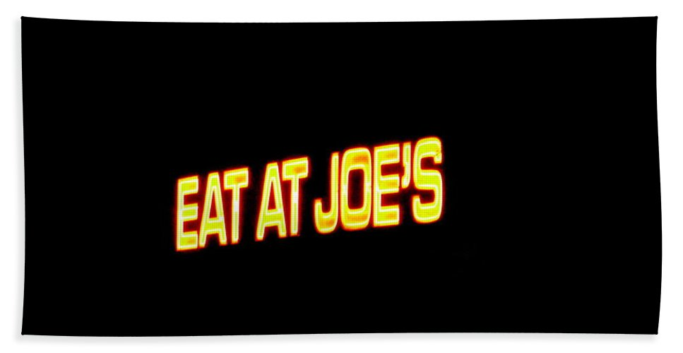 Floating Bath Sheet featuring the photograph Floating Neon - Eat At Joes by Deborah Crew-Johnson