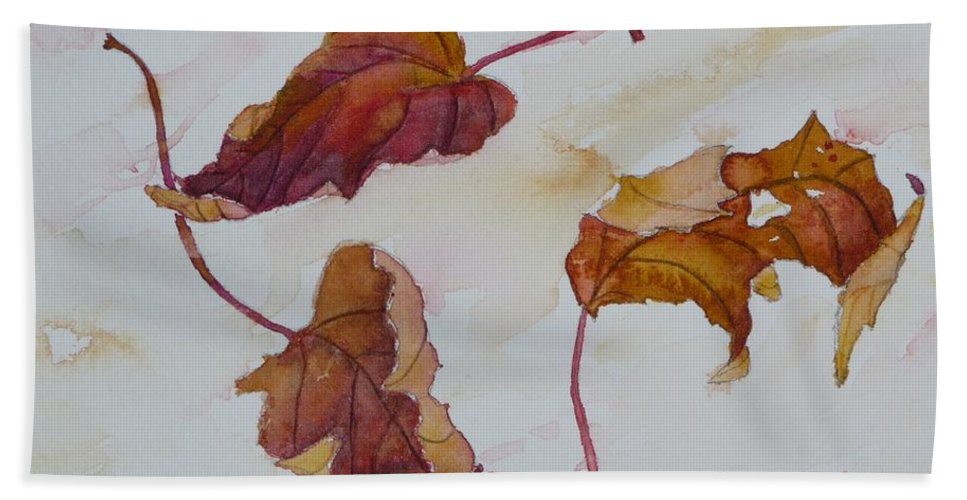 Fall Hand Towel featuring the painting Floating by Ruth Kamenev