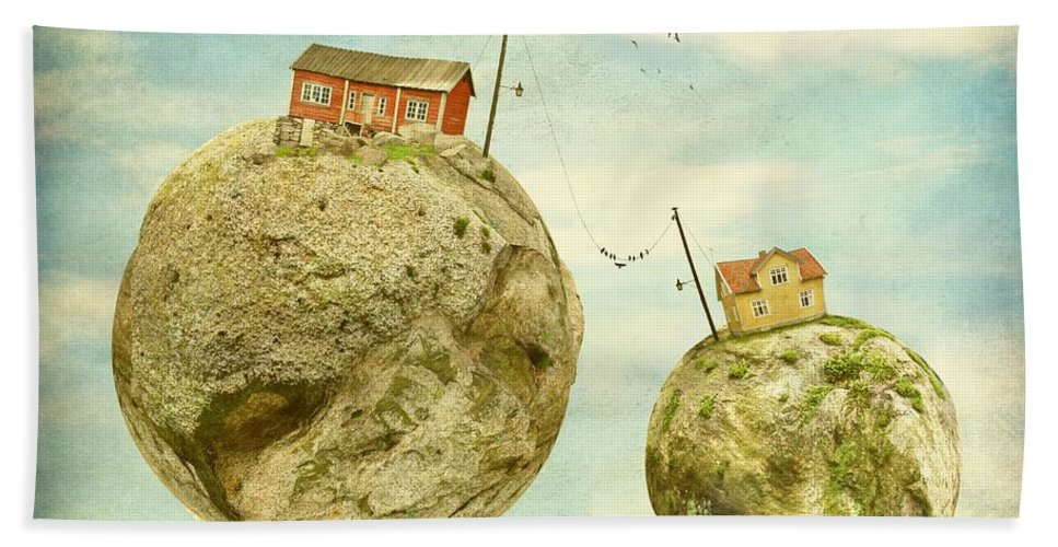Surrealism Hand Towel featuring the photograph Floating Village by Sonya Kanelstrand