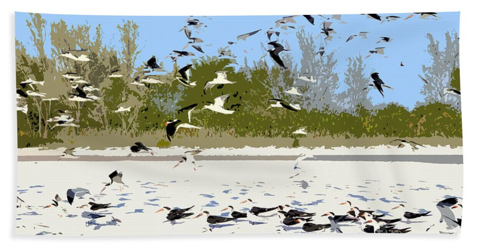 Seagulls Hand Towel featuring the painting Flock Of Seagulls by David Lee Thompson