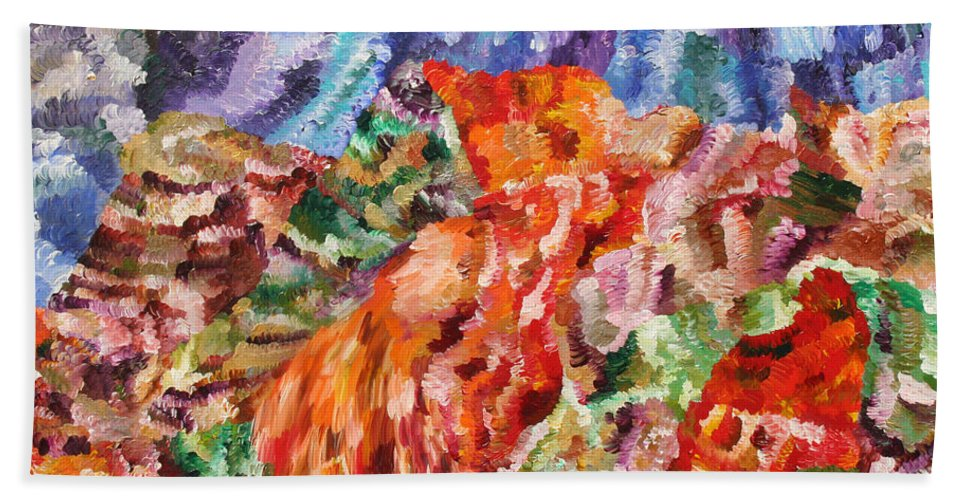 Fusionart Hand Towel featuring the painting Flock by Ralph White