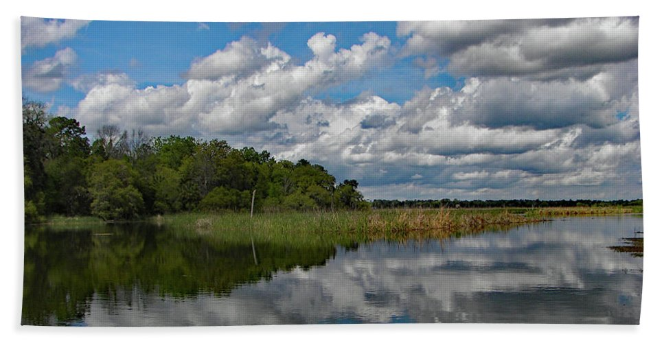 Reflection Hand Towel featuring the photograph Flooded Low Country Rice Field by Jerry Griffin