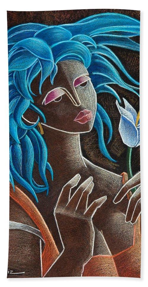 Puerto Rico Hand Towel featuring the painting Flor Y Viento by Oscar Ortiz