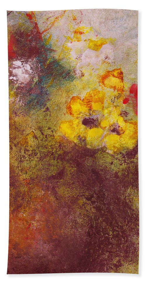 Botanical Bath Sheet featuring the painting Flora II by Ruth Palmer