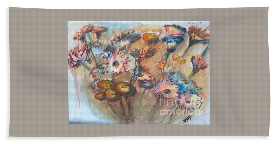 Flower Bath Sheet featuring the painting Flora by Leslie Dobbins