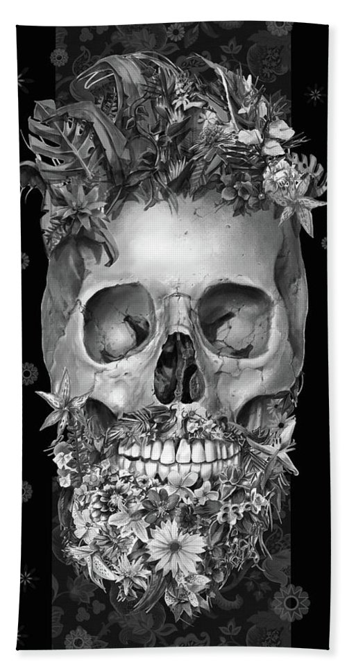 Skull Hand Towel featuring the painting Floral Beard Skull 3 by Bekim M