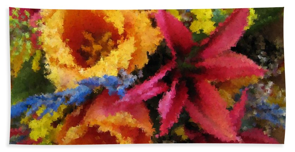 Flowers Hand Towel featuring the digital art Floral Blast by Tim Allen