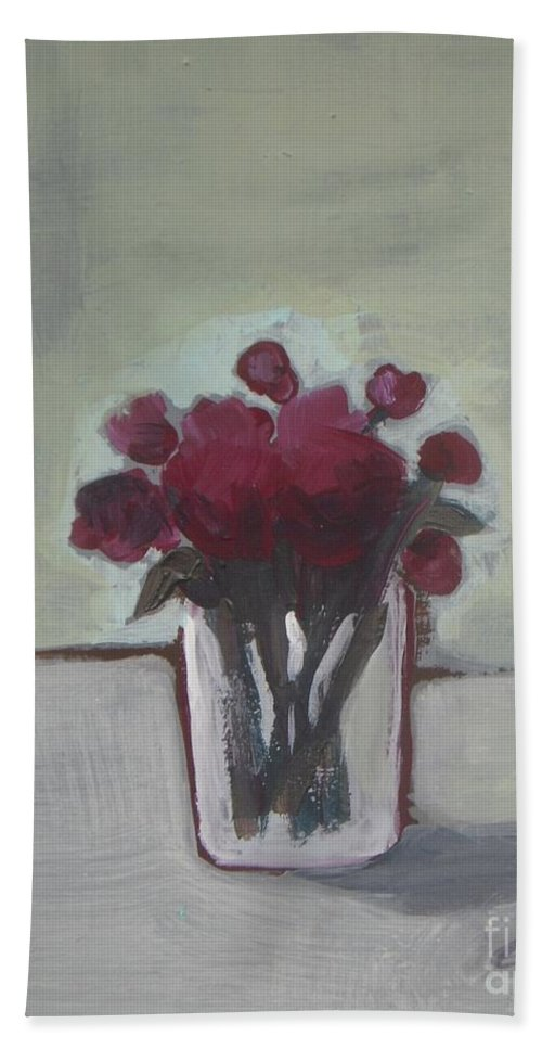 Flowers In Vase Bath Sheet featuring the painting Look Forward by Vesna Antic