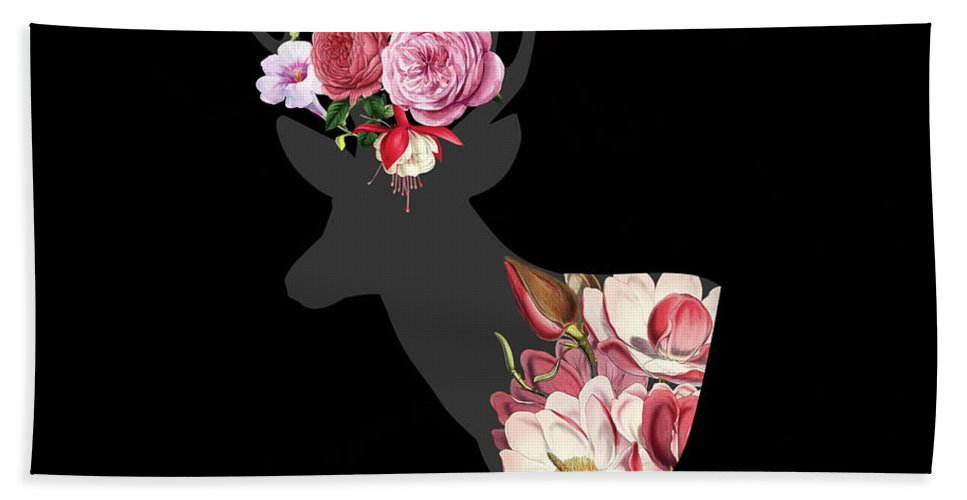 Deer Hand Towel featuring the digital art Floral Deer On Black by Suzanne Carter