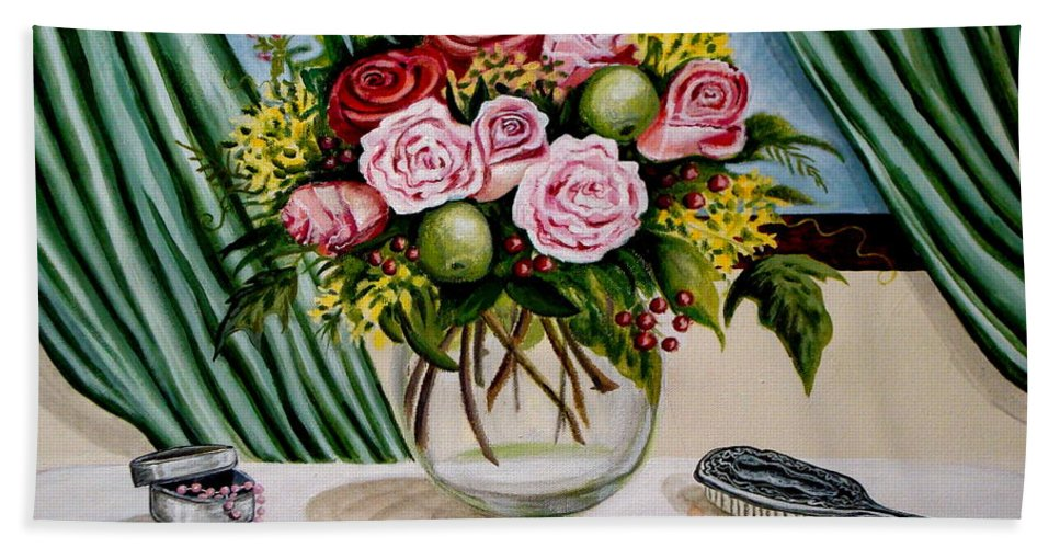 Floral Bath Sheet featuring the painting Floral Essence by Elizabeth Robinette Tyndall