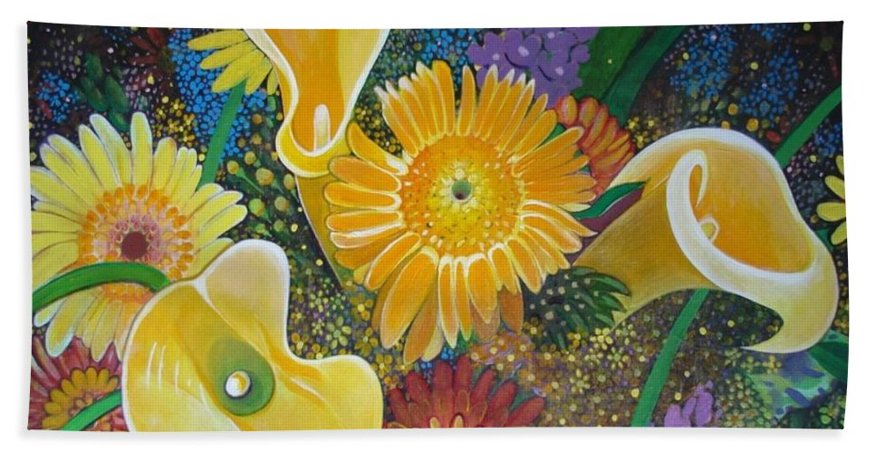 Flowers Bath Sheet featuring the painting Floral Fireworks by Helena Tiainen
