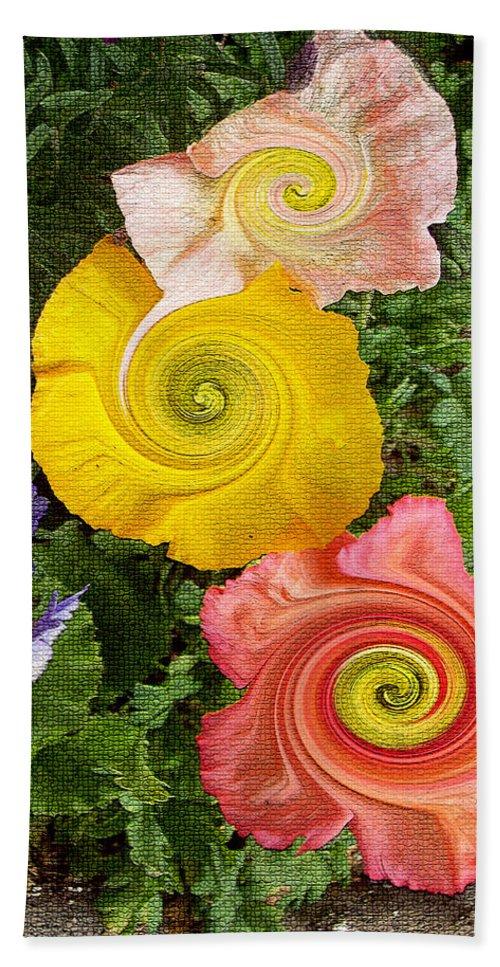 Floral Bath Sheet featuring the digital art Floral Kaleidoscope by Donna Blackhall