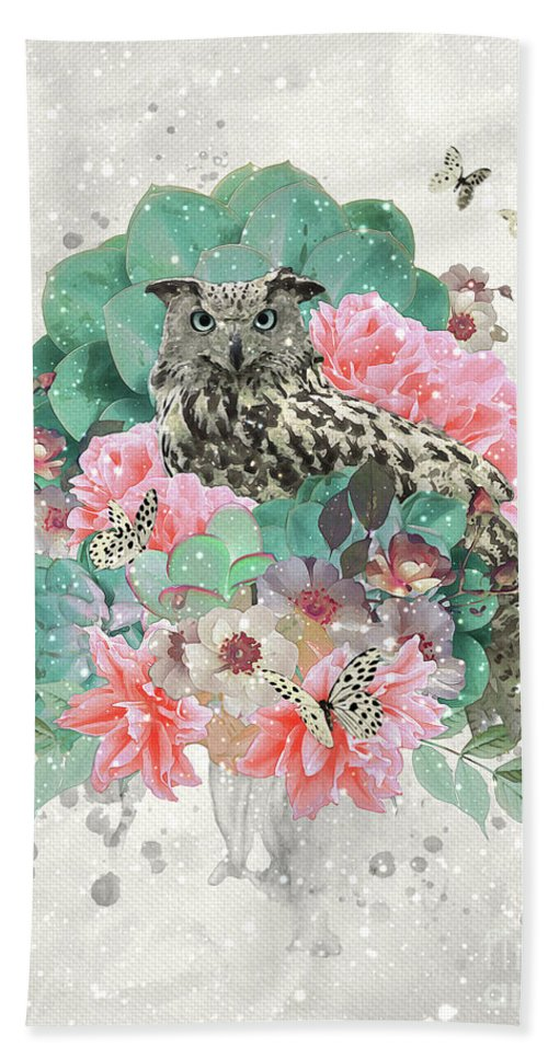 Owl Bath Sheet featuring the digital art Floral Owl by Donika Nikova