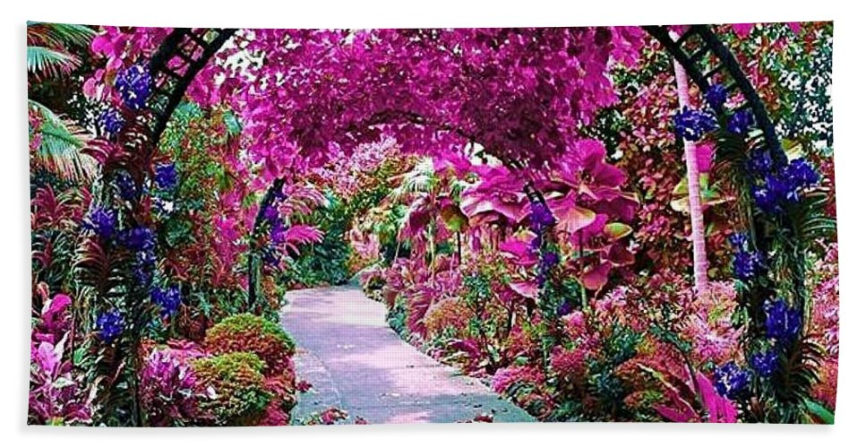 Flowers Colorful Pathway Beautiful Pink Purple Hand Towel featuring the photograph Floral Pathway by Sarah Waldman
