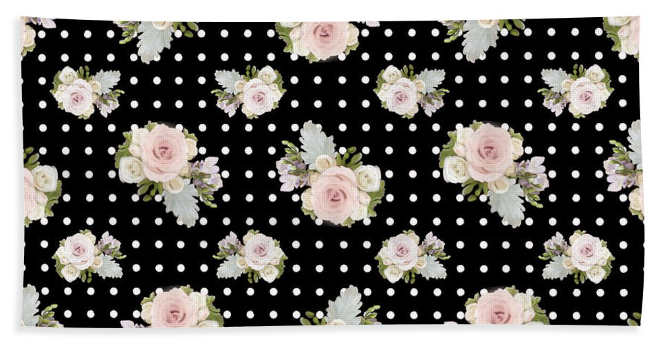 Home Decor Hand Towel featuring the painting Floral Rose Cluster W Dot Bedding Home Decor Art by Audrey Jeanne Roberts