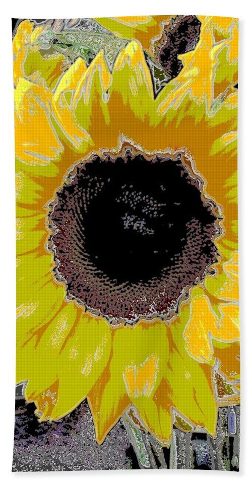 Sunflower Bath Sheet featuring the digital art Floral Sunbeam by Tim Allen