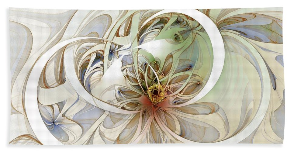 Digital Art Hand Towel featuring the digital art Floral Swirls by Amanda Moore