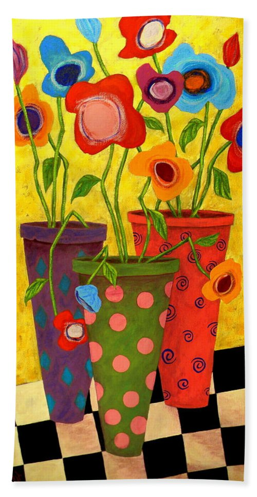 Still Life Hand Towel featuring the painting Floralicious by John Blake